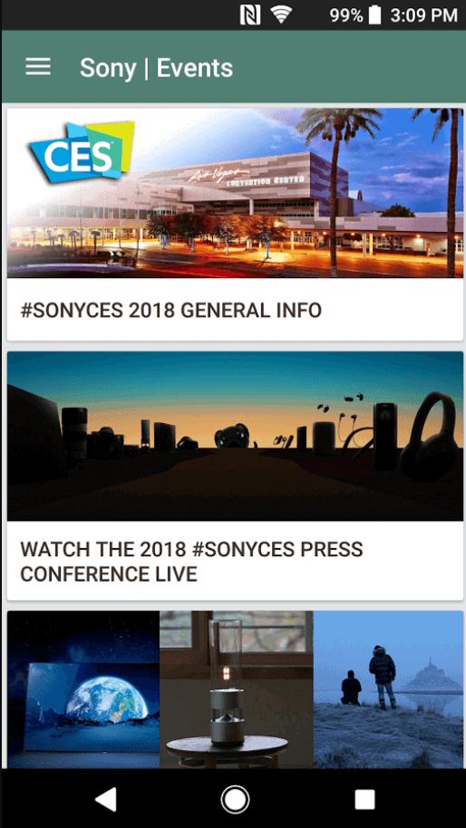 Sony Events app 1