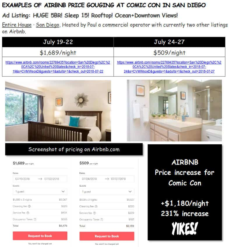 Airbnb SDCC Gouging 4