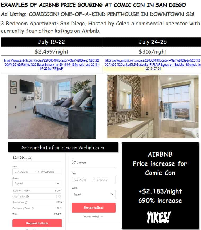Airbnb SDCC Gouging 7