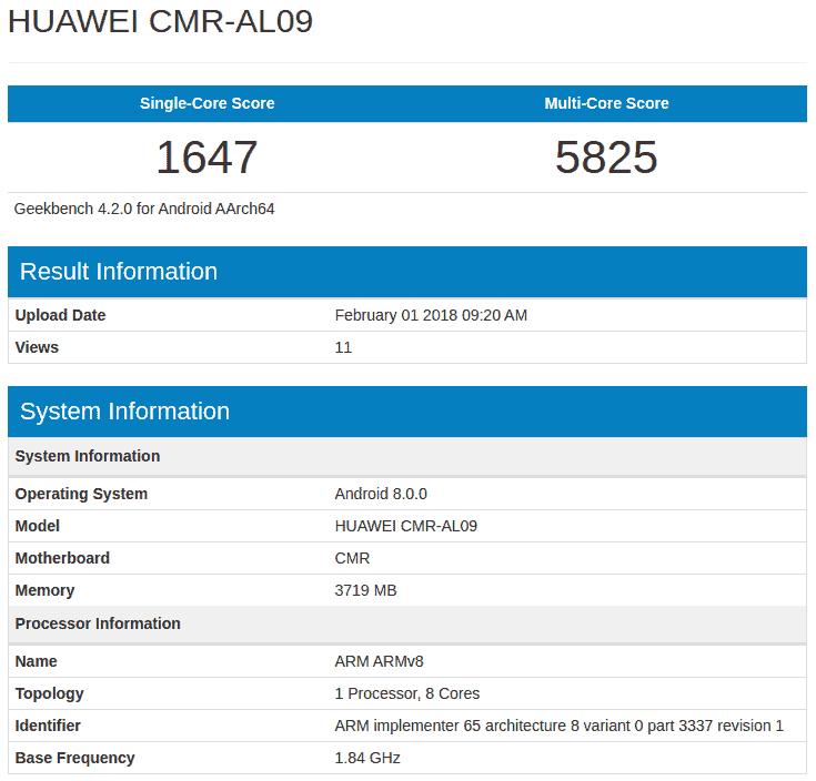 Huawei CMR AL09 Geekbench 1