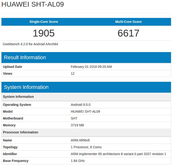 Huawei SHT AL09 geekbench 1