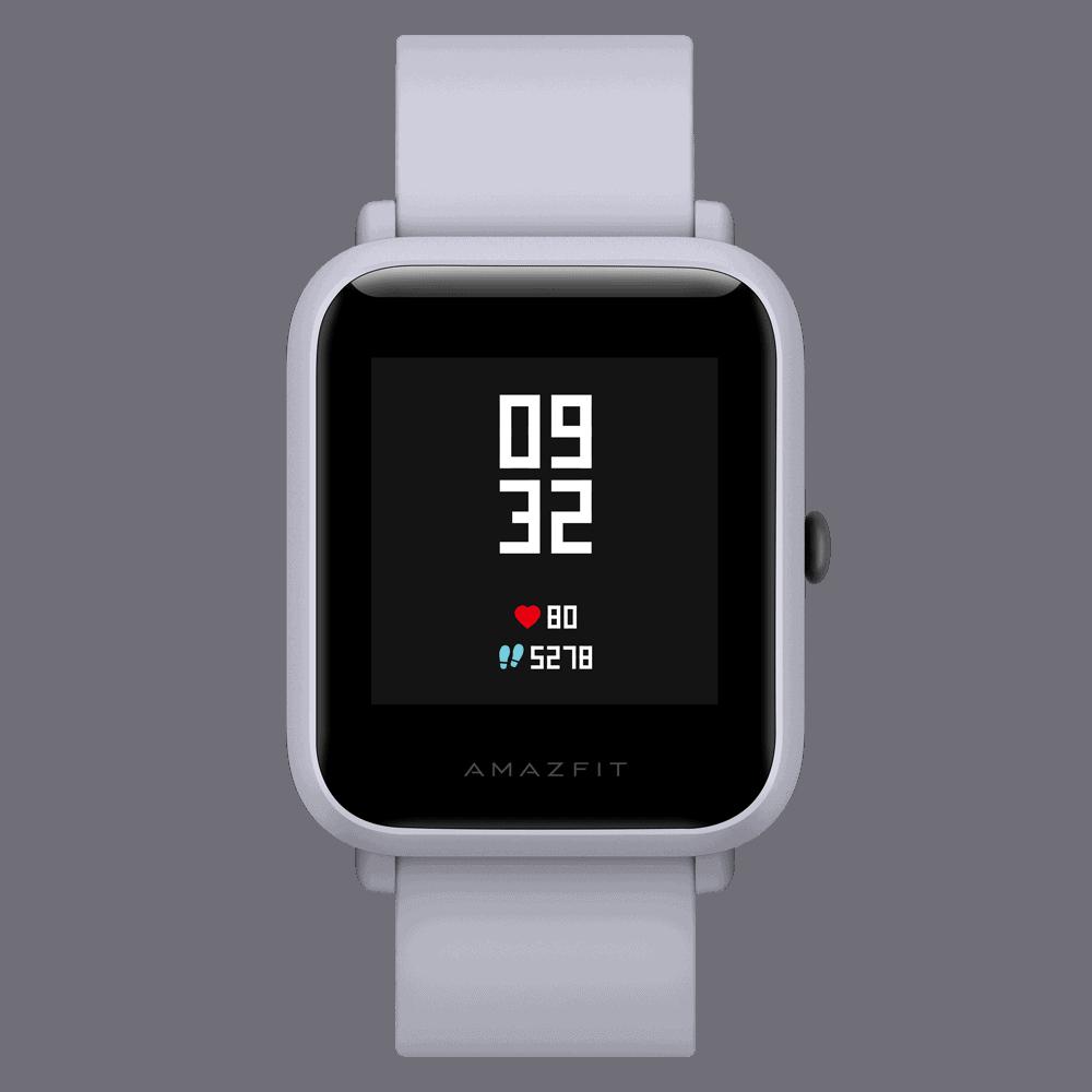 amazfit bip smartwatch white cloud front