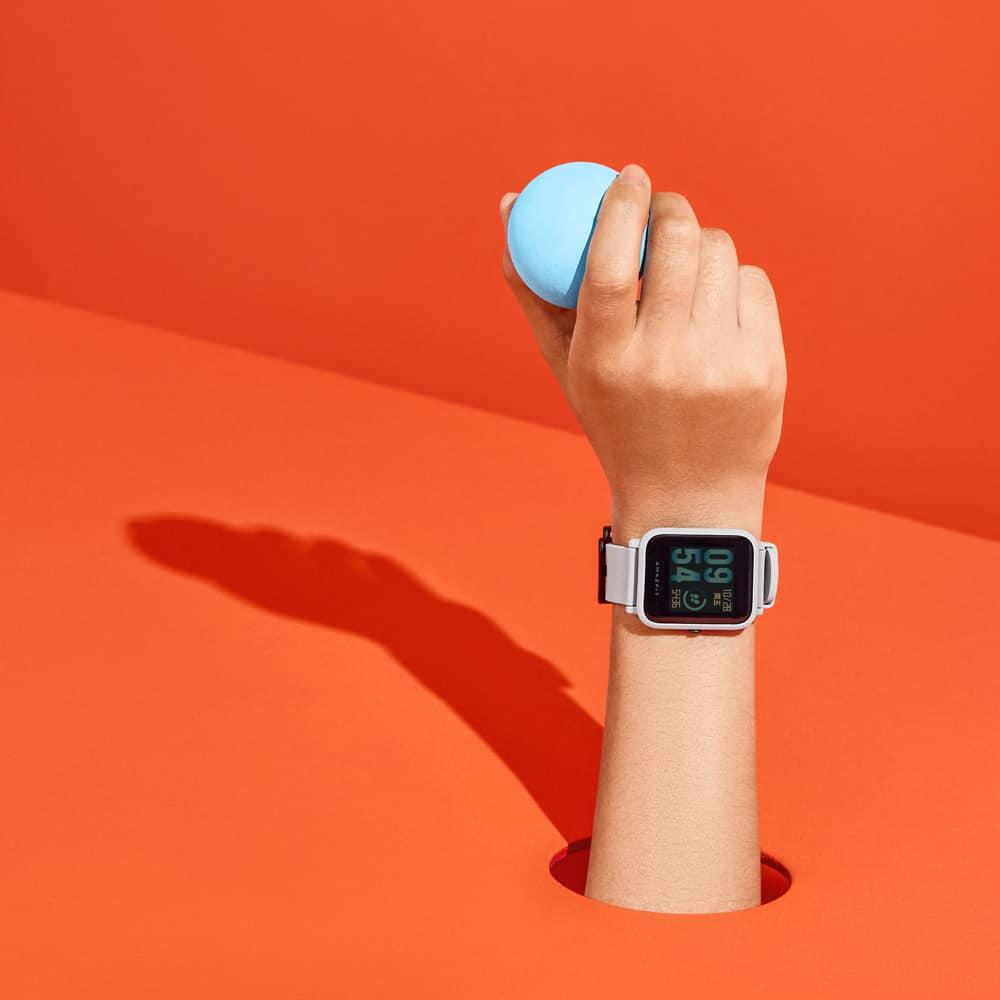 amazfit bip smartwatch white cloud hand