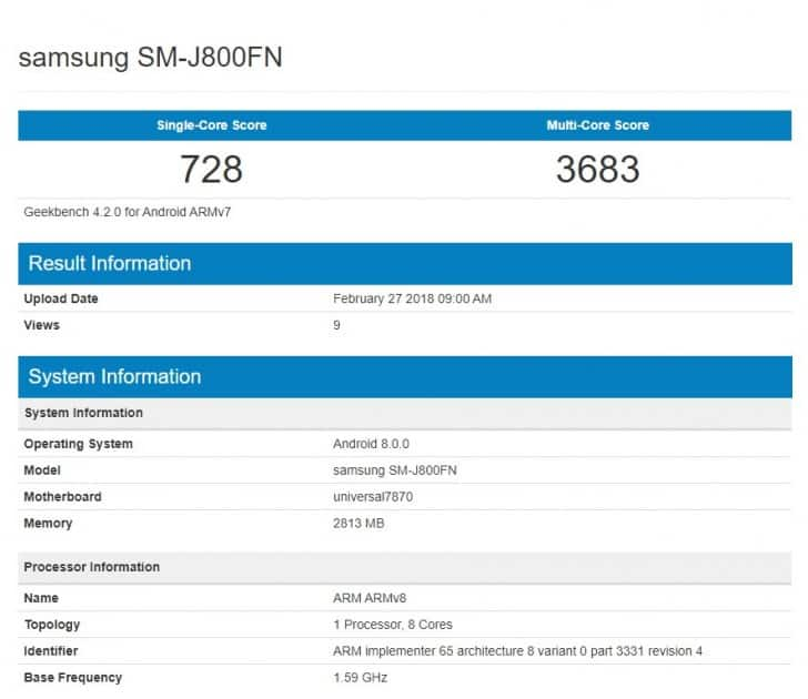 Galaxy J8 (2018) Spotted On Geekbench With Android 8.0 Oreo