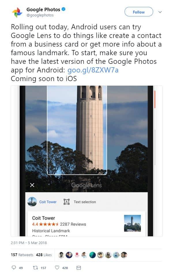 Google Lens Google Photos Launch Tweet from Google Photos 01