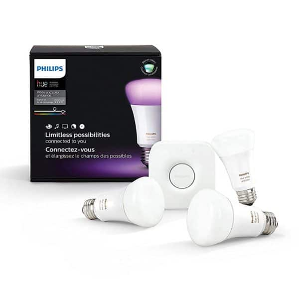 Philips Hue White and Color Ambiance A19 60W Equivalent LED Smart Bulb Starter Kit
