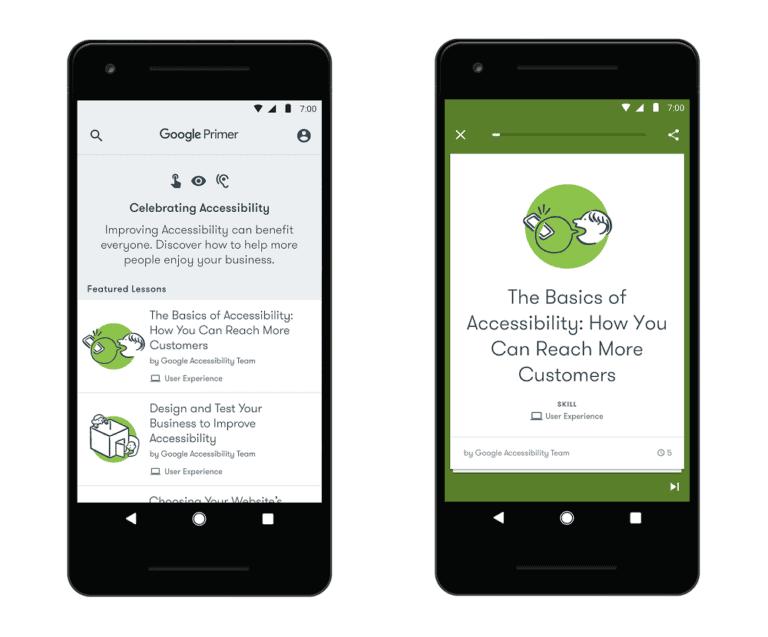 Google Primer obtiene accesibilidad Recursos y lecciones