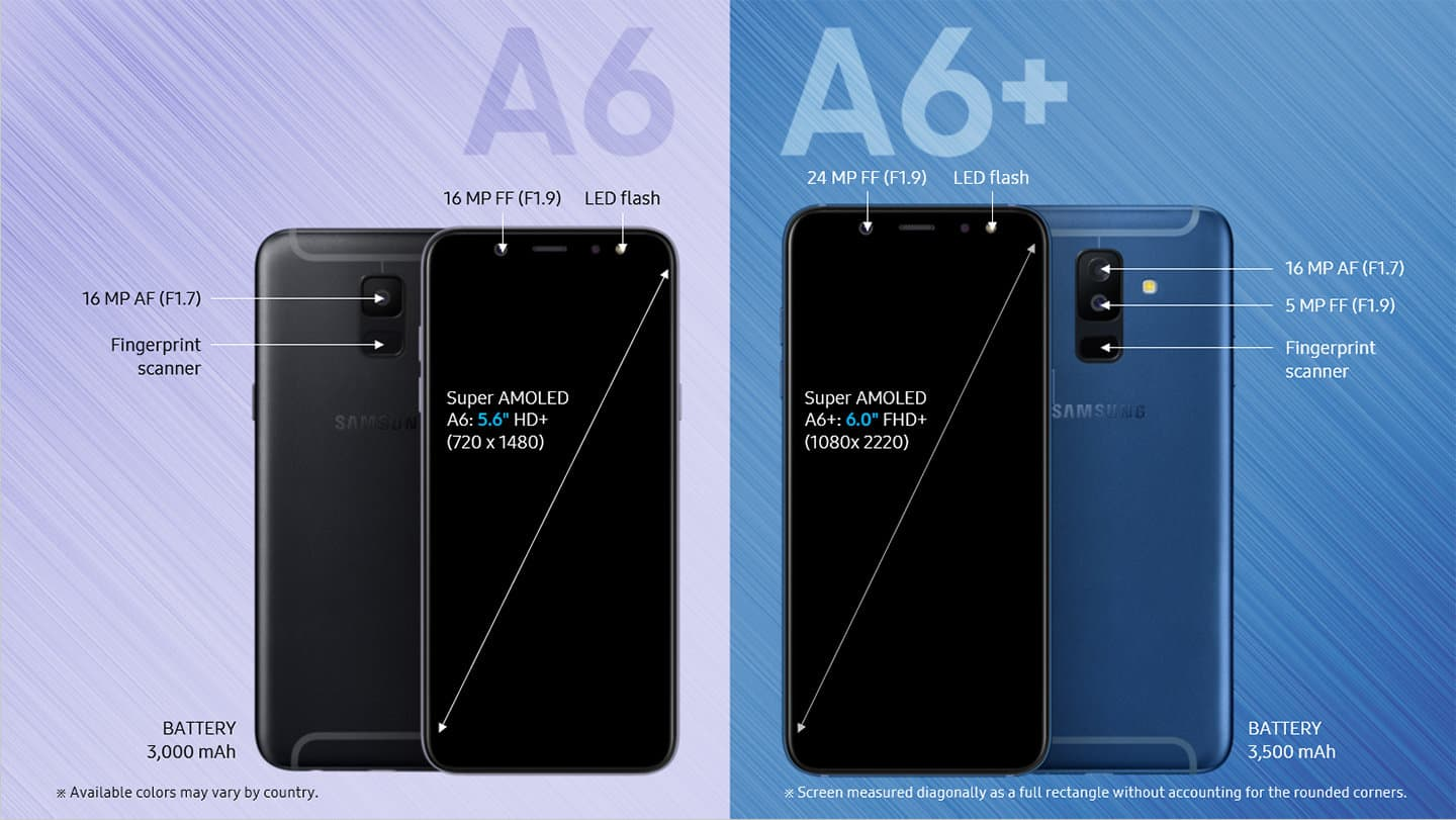Samsung Galaxy A6 and A6 Plus official listing 8