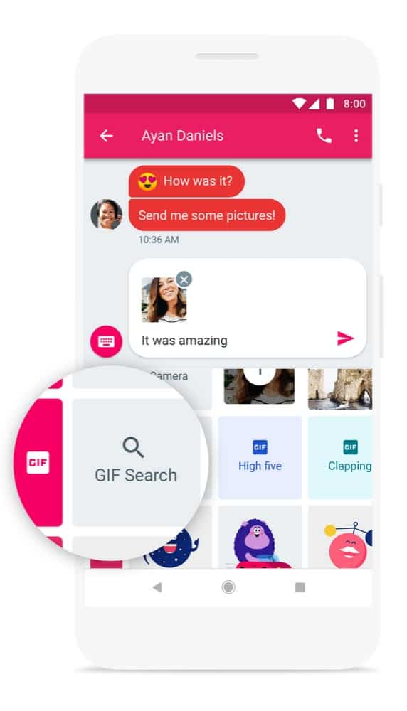 Android Messages GIF Search Press Image