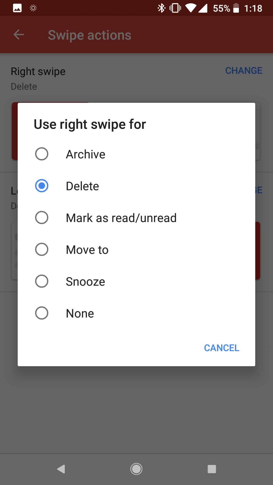 Gmail Android Custom Swipe Actions 1