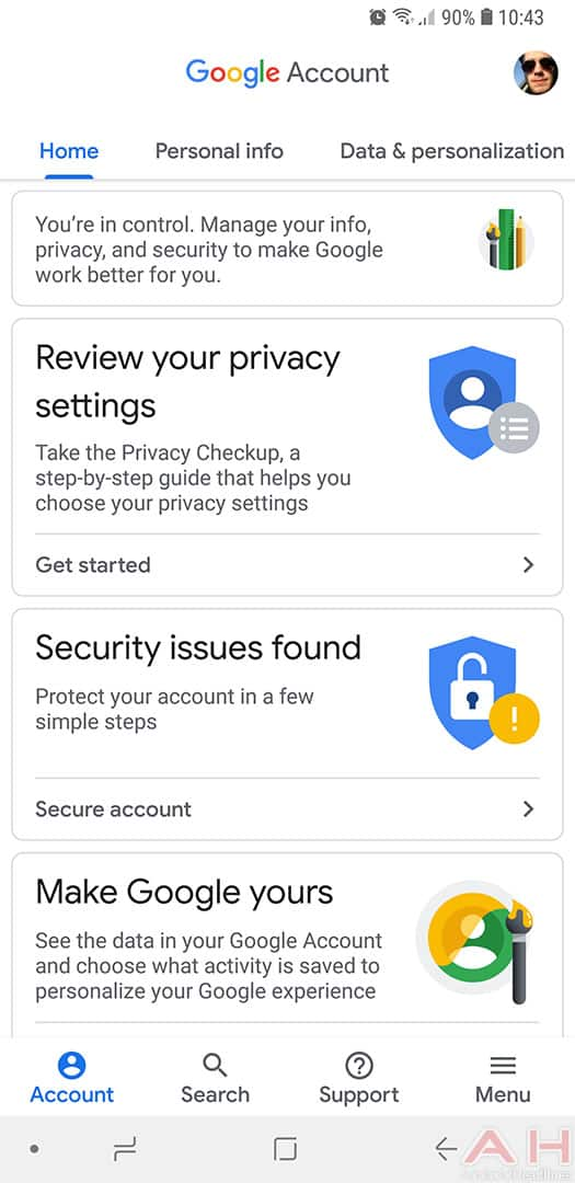 how to change google account settings on android