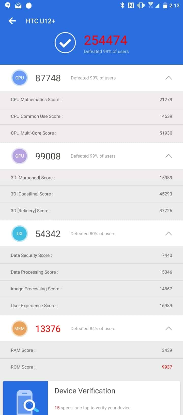 HTC U12 Plus AH NS Screenshots benchmarks 2
