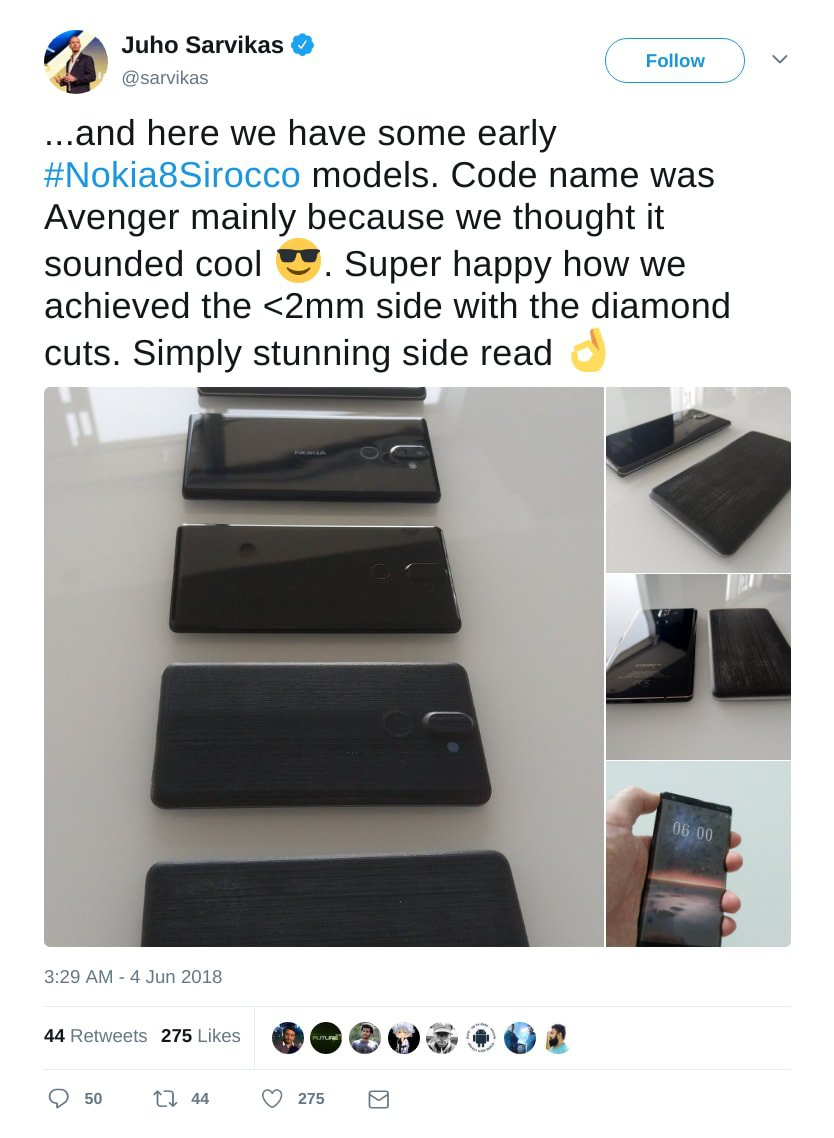 Nokia 8 Sirocco Prototypes official Tweet