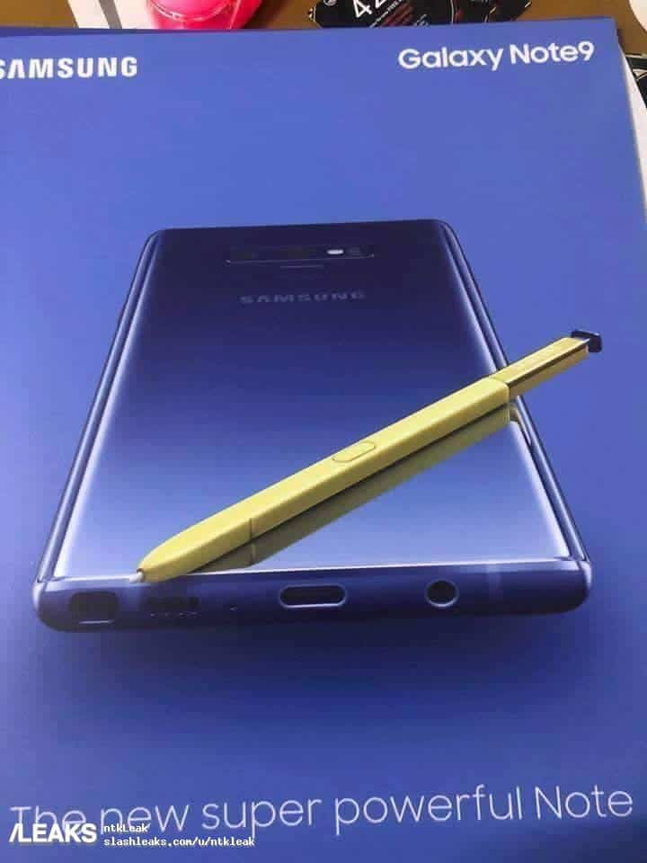 Galaxy Note 9 Poster Leaks Yellow S Pen Pictured As Well