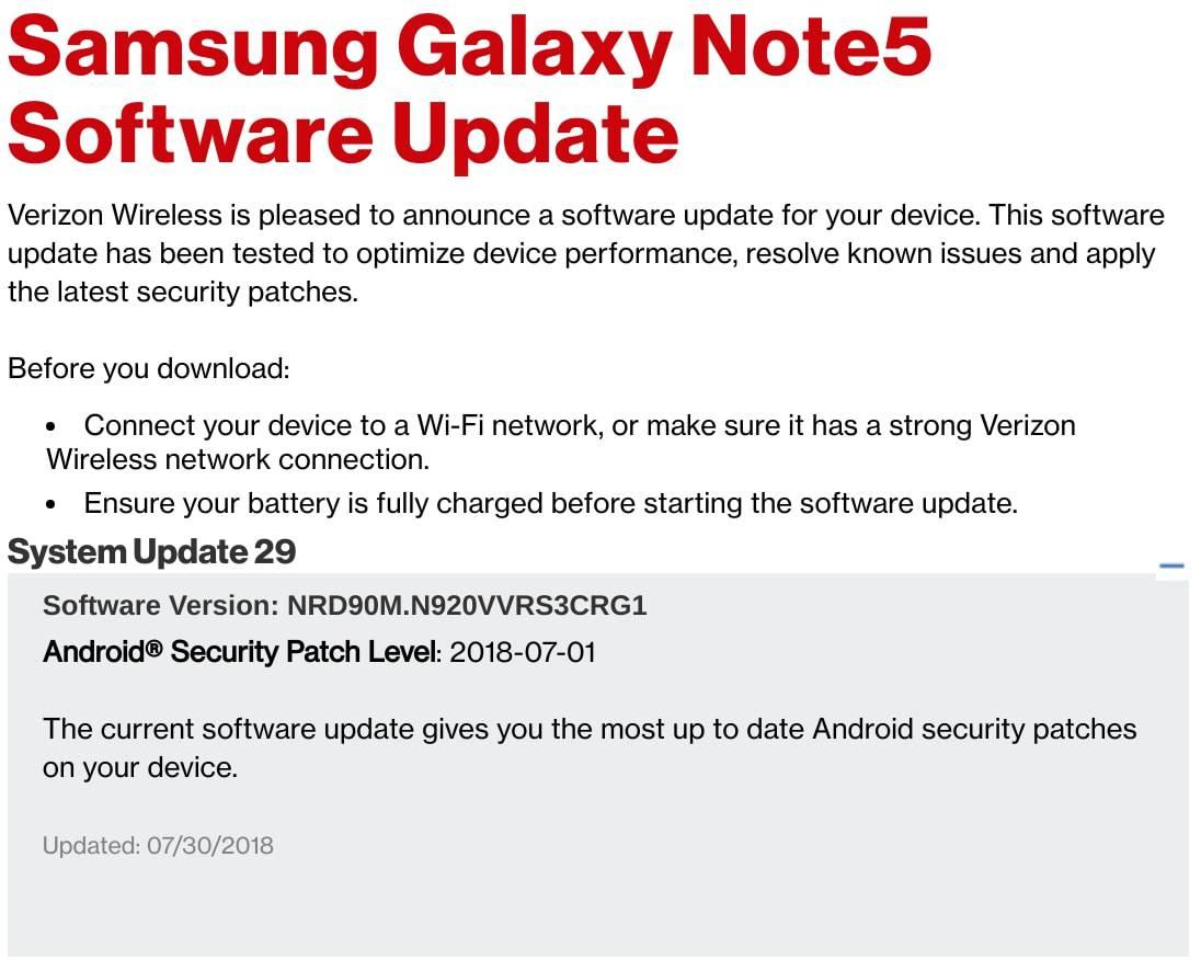 Verison Galaxy Note 5 July 2018 Patch