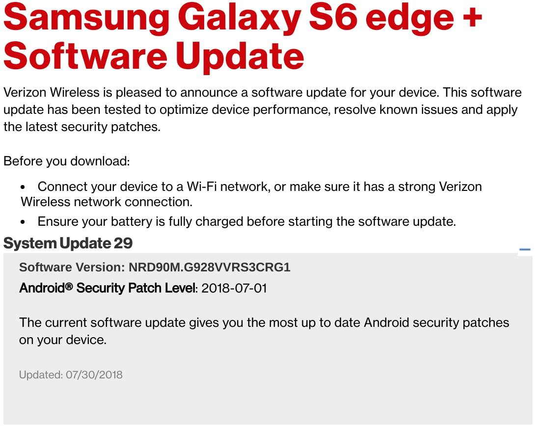 Verison Galaxy S6 Edge Plus July 2018 Patch