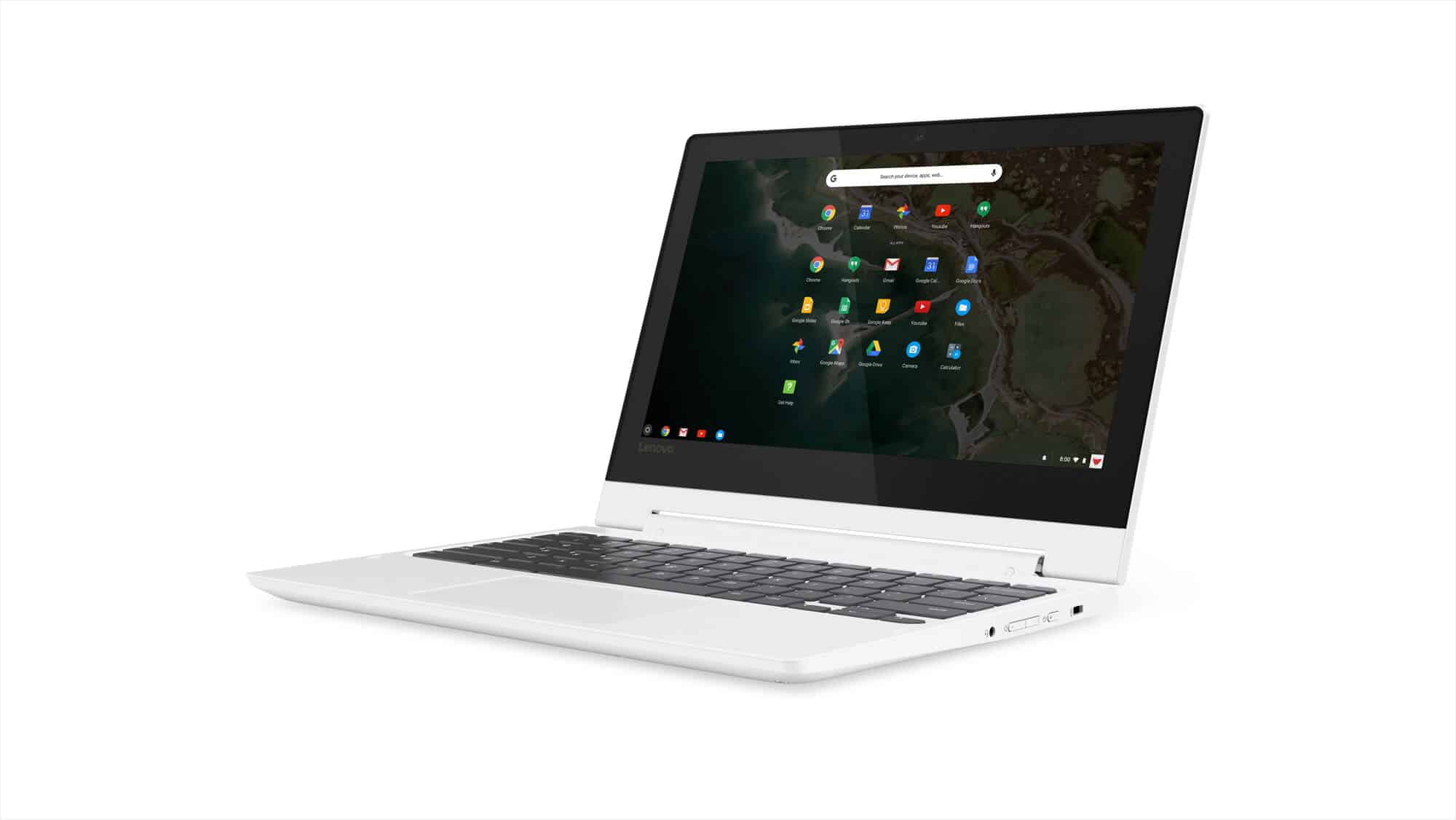 04 Chromebook C330 Hero Front Facing Left Blizzard White