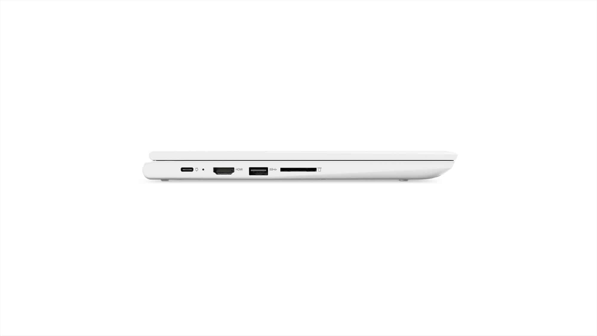 10 Chromebook C330 Tour Left Side Profile Closed Blizzard White