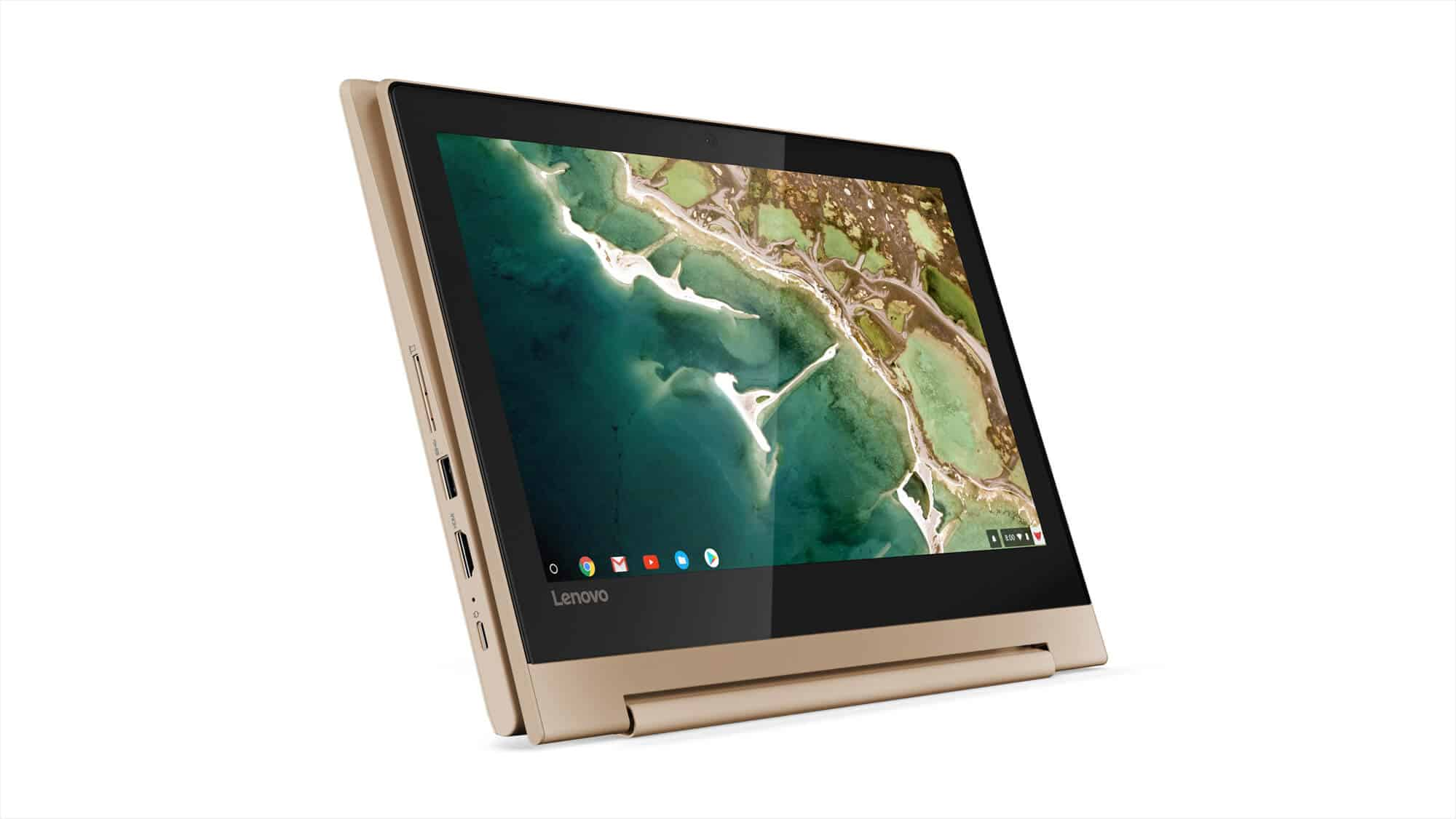 218 Chromebook C330 Hero Tablet Mode Horizontal Front Facing Champagne