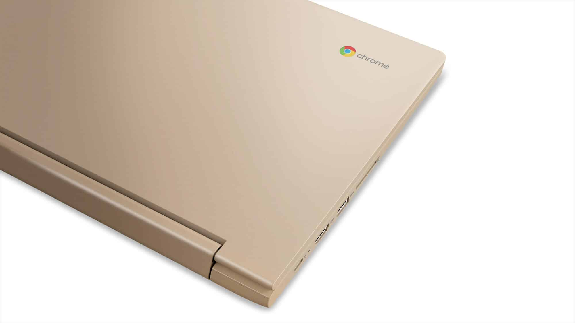 222 Chromebook C330 Hero Closeup CMF Champagne