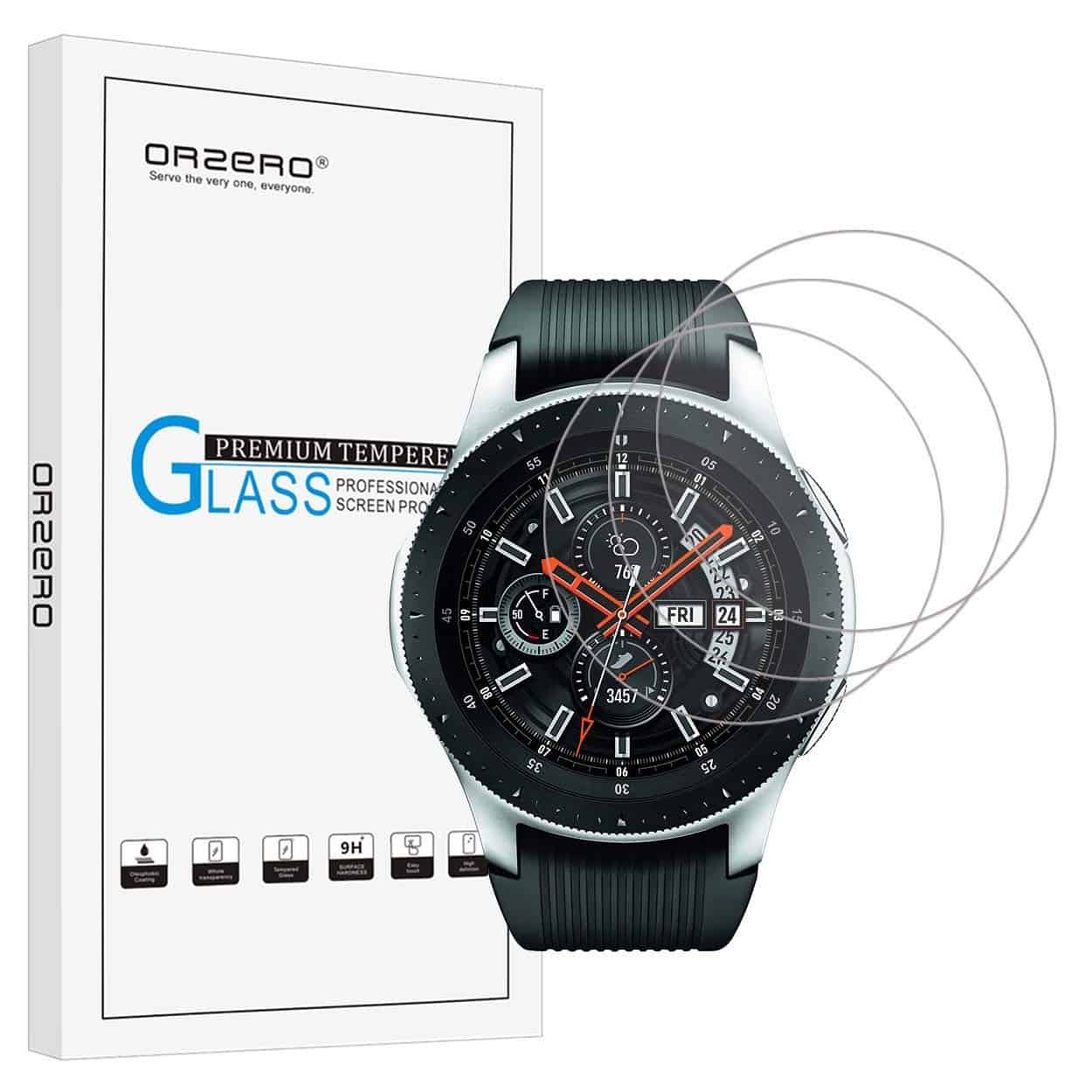 Orzero for Samsung Galaxy Watch (for 46 mm Version) Smartwatch Tempered Glass Screen Protector