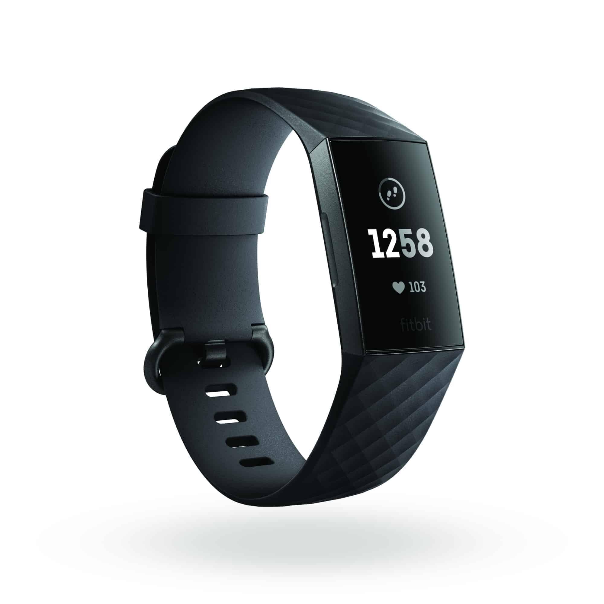 Fitbit Charge 3 3QTR Core Black Graphite Clock Default Shadow