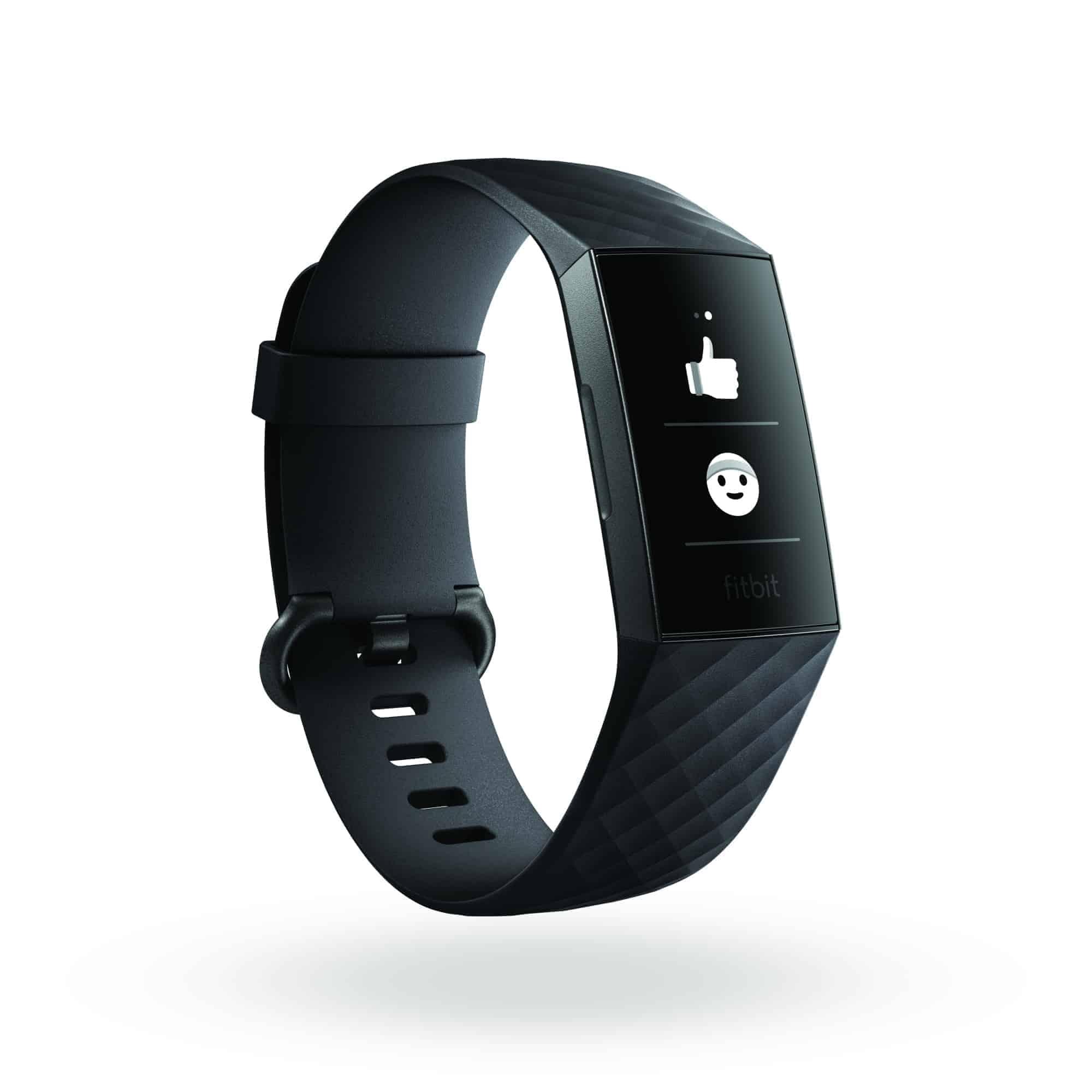 Fitbit Charge 3 3QTR Core Black Graphite Emoji Text Shadow