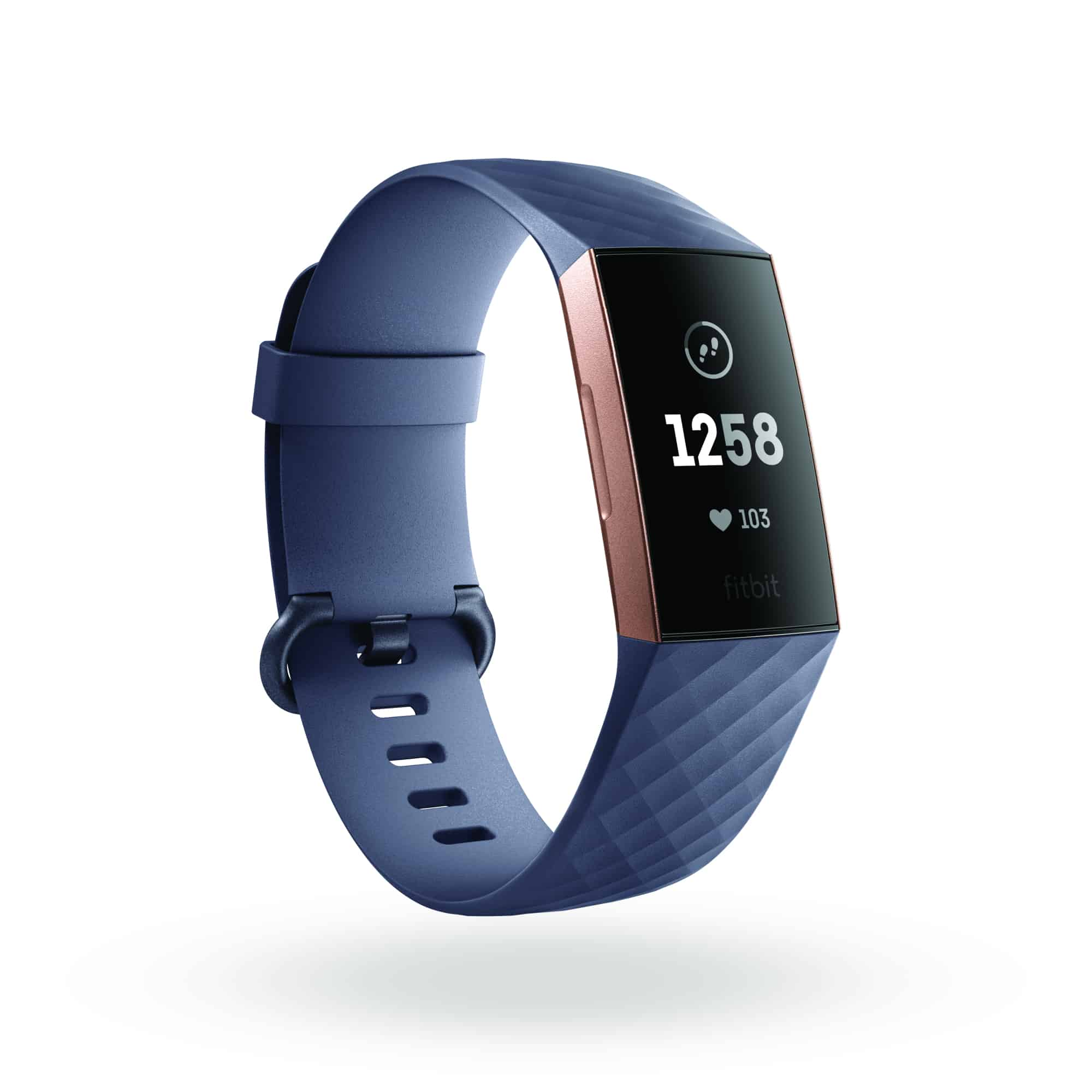 Fitbit Charge 3 3QTR Core Blue Gray Rose Gold Clock Default Shadow