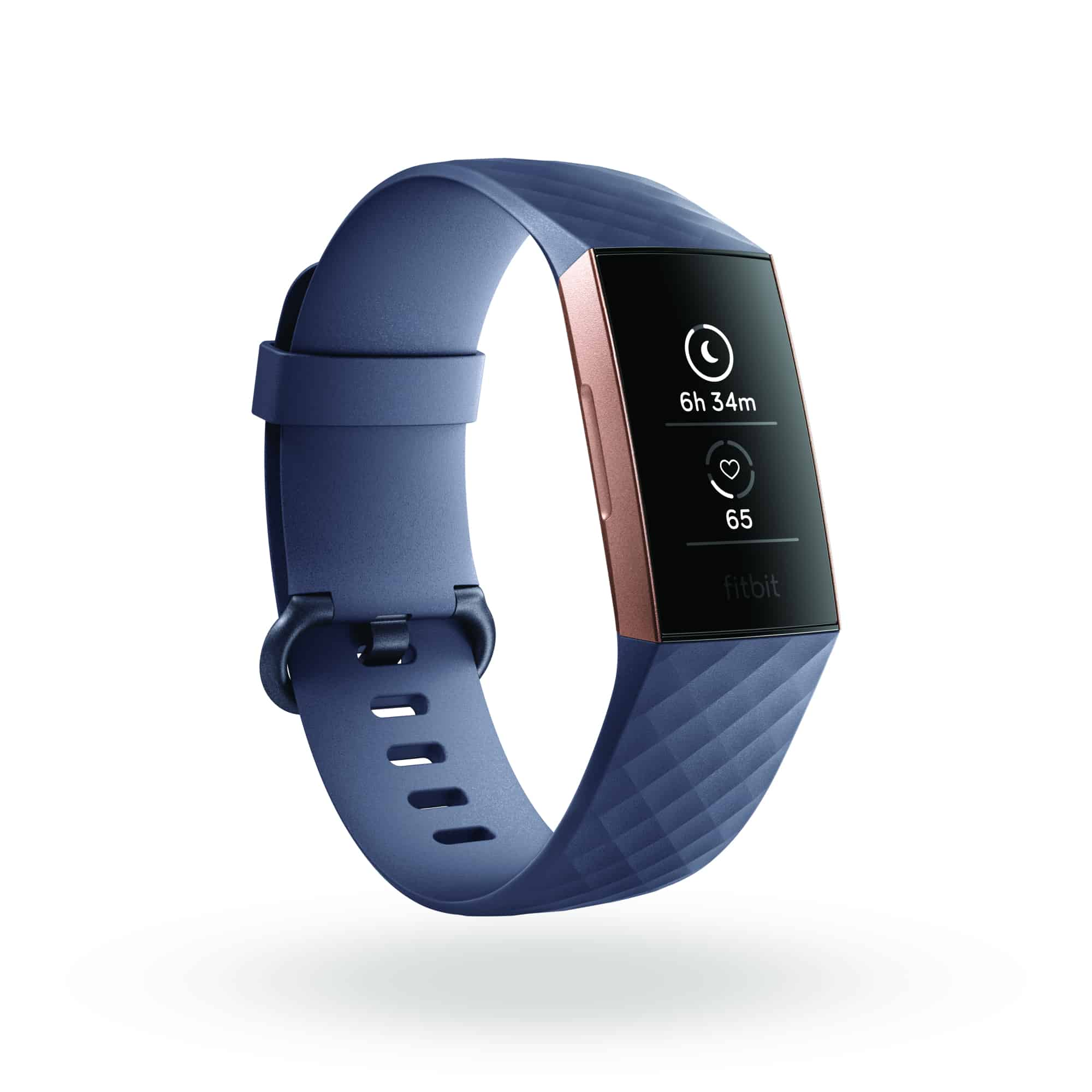 Fitbit Charge 3 3QTR Core Blue Gray Rose Gold Sleep In Today Shadow