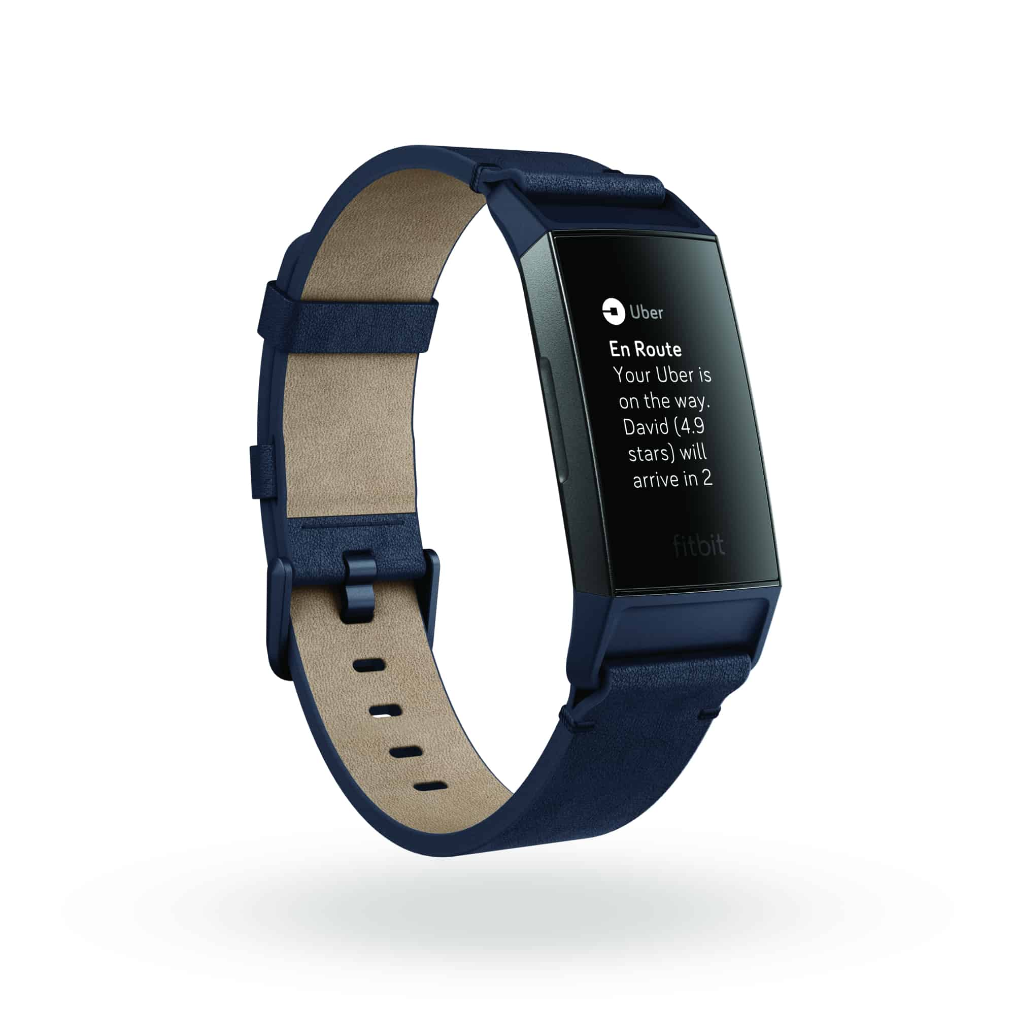 Fitbit Charge 3 3QTR Leather Midnight Blue Graphite Uber Notification Shadow