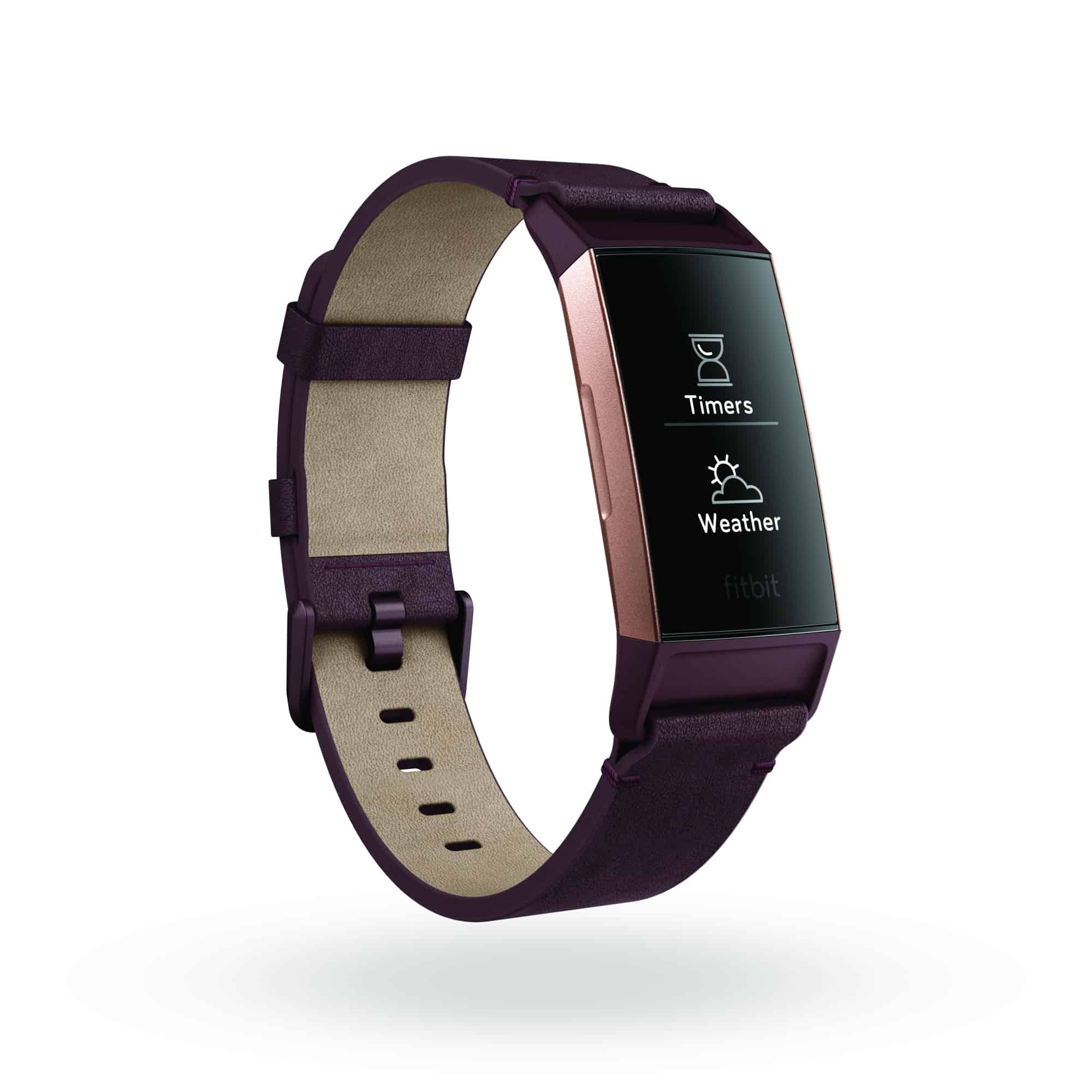 Fitbit Charge 3 3QTR Leather Plum Rose Gold Weather Timer App Switcher Shadow