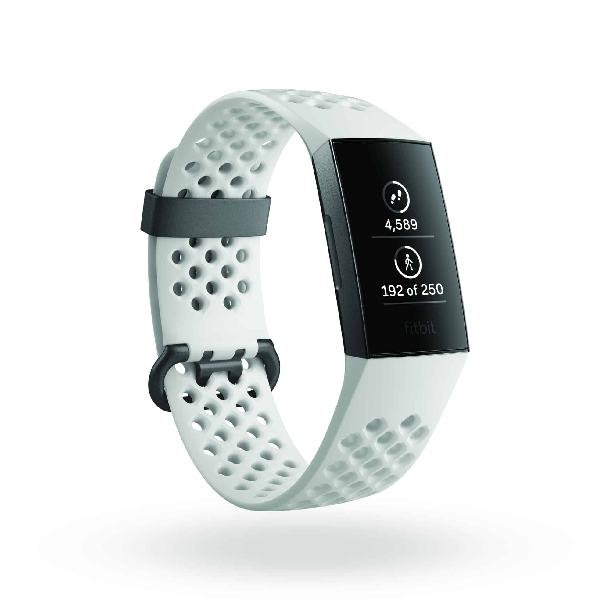 Fitbit Charge 3 3QTR SE Frost White Graphite FitbitHome Steps Shadow 1