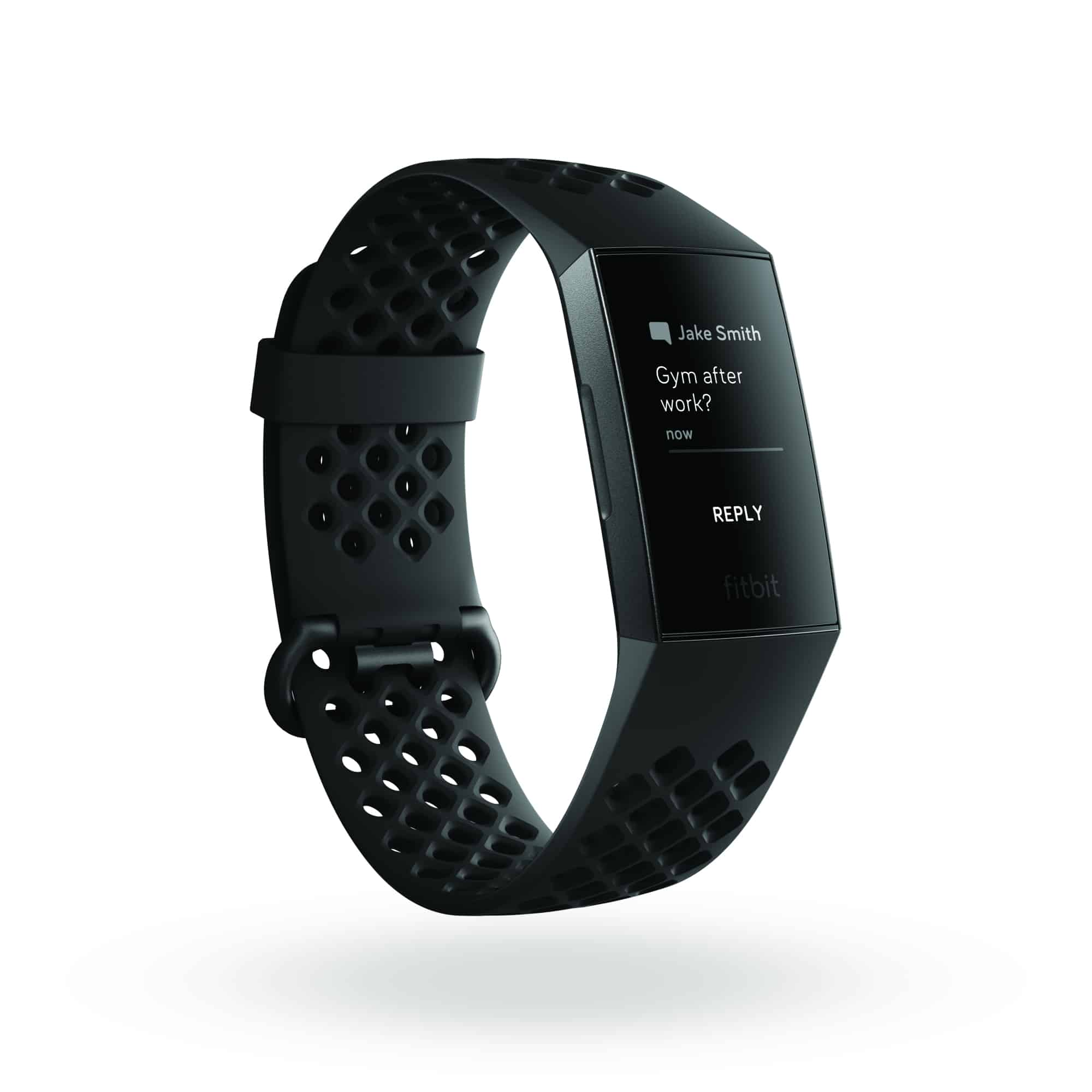 Fitbit Charge 3 3QTR Sports Black Graphite Text Reply Options Shadow