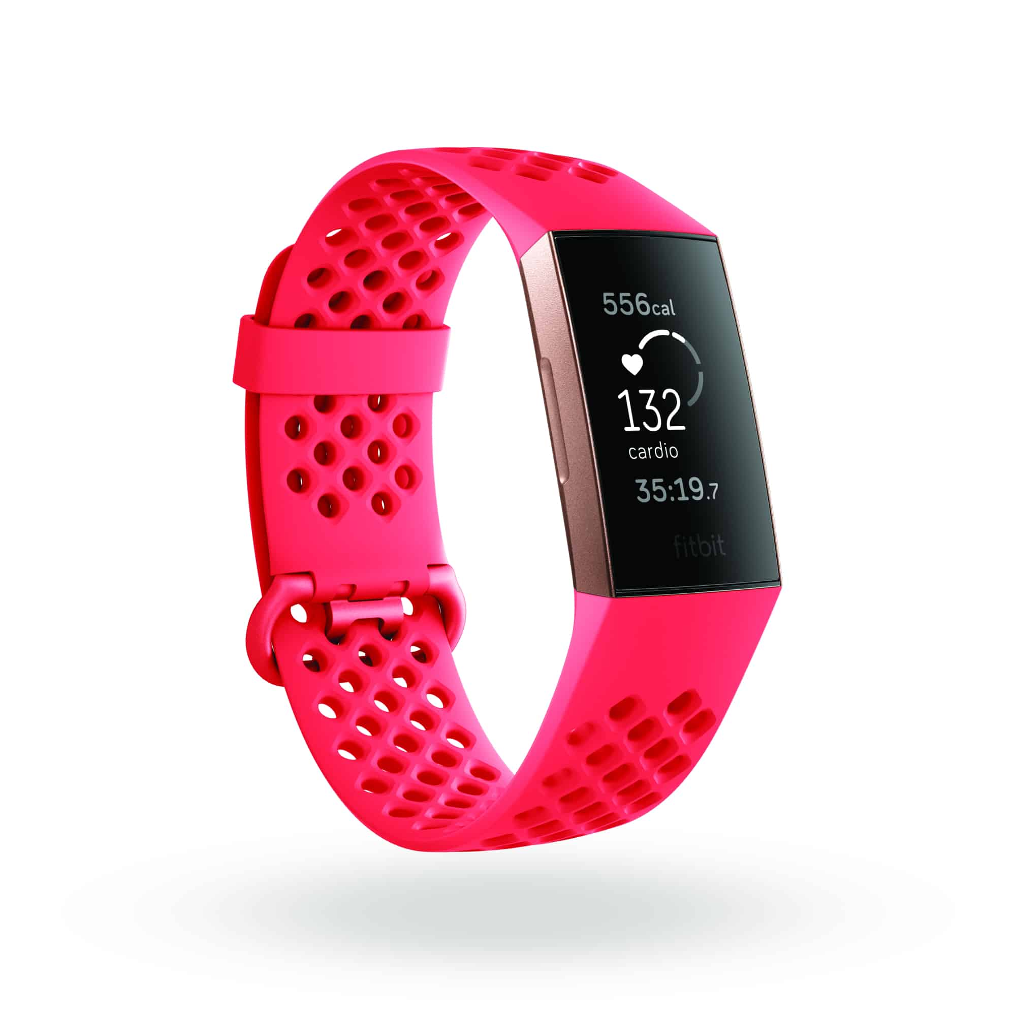 Fitbit Charge 3 3QTR Sports Scarlet Rose Gold Cardio Shadow