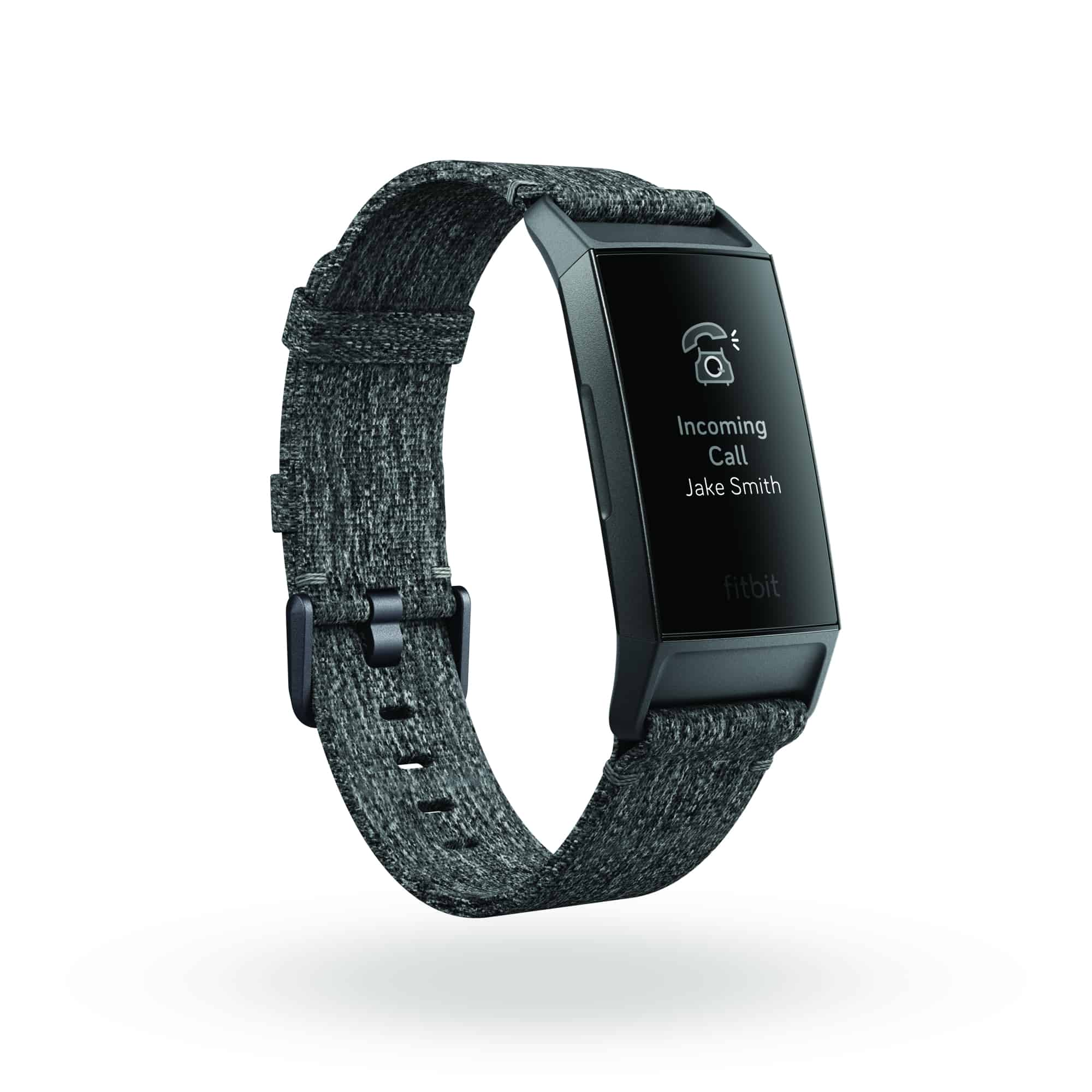 Fitbit Charge 3 3QTR Woven Charcoal Graphite Call Notification 2 Shadow