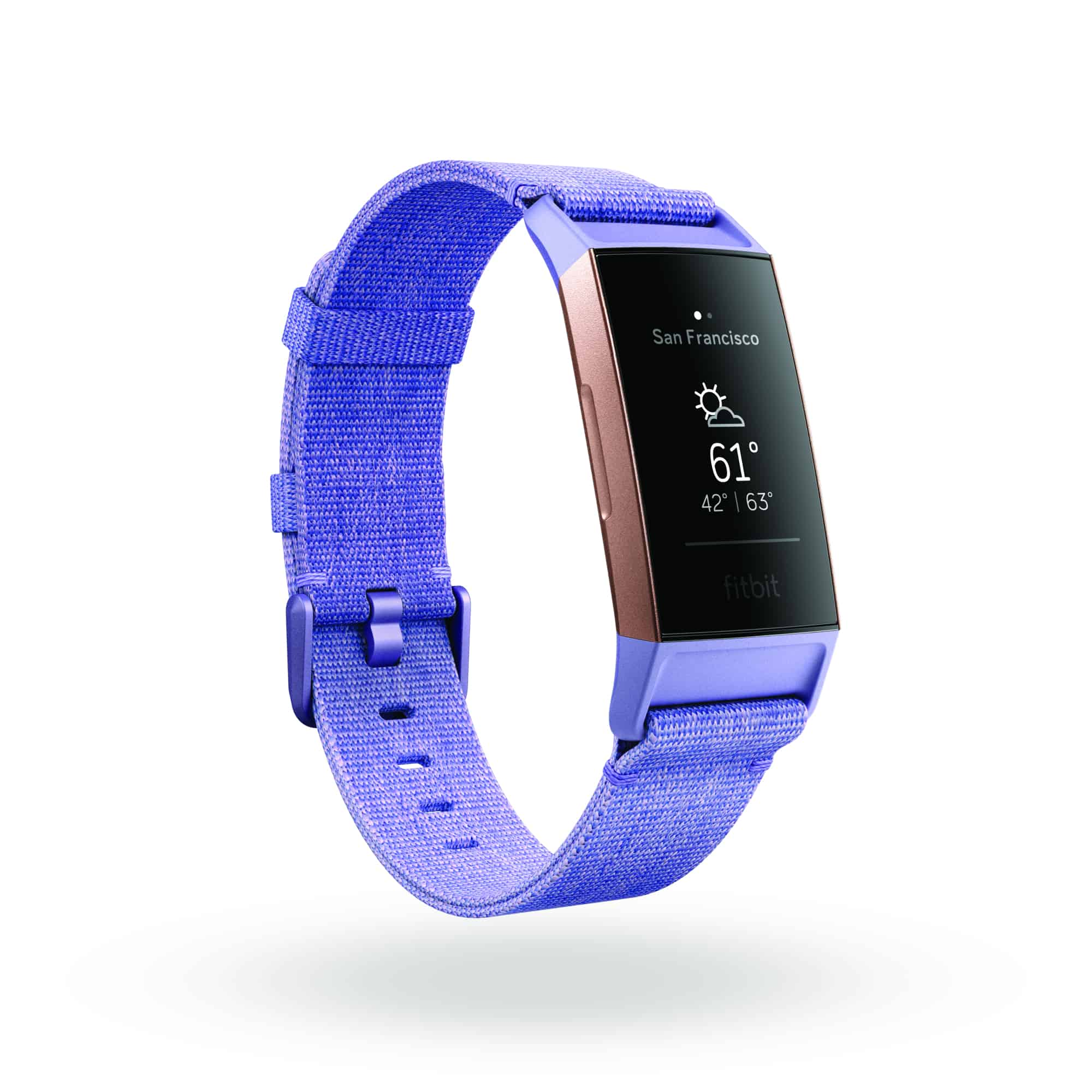 Fitbit Charge 3 3QTR Woven Periwinkle Rose Gold Weather Shadow