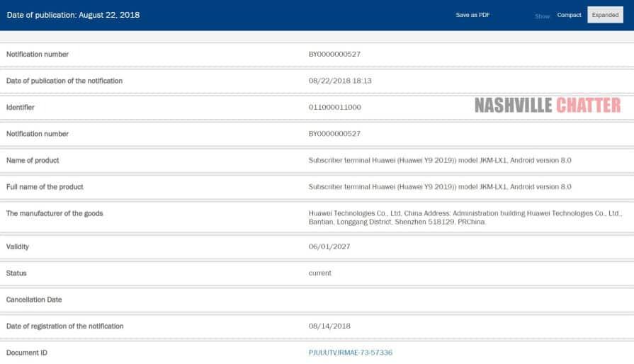 Huawei Y9 2019 EEC listing 1