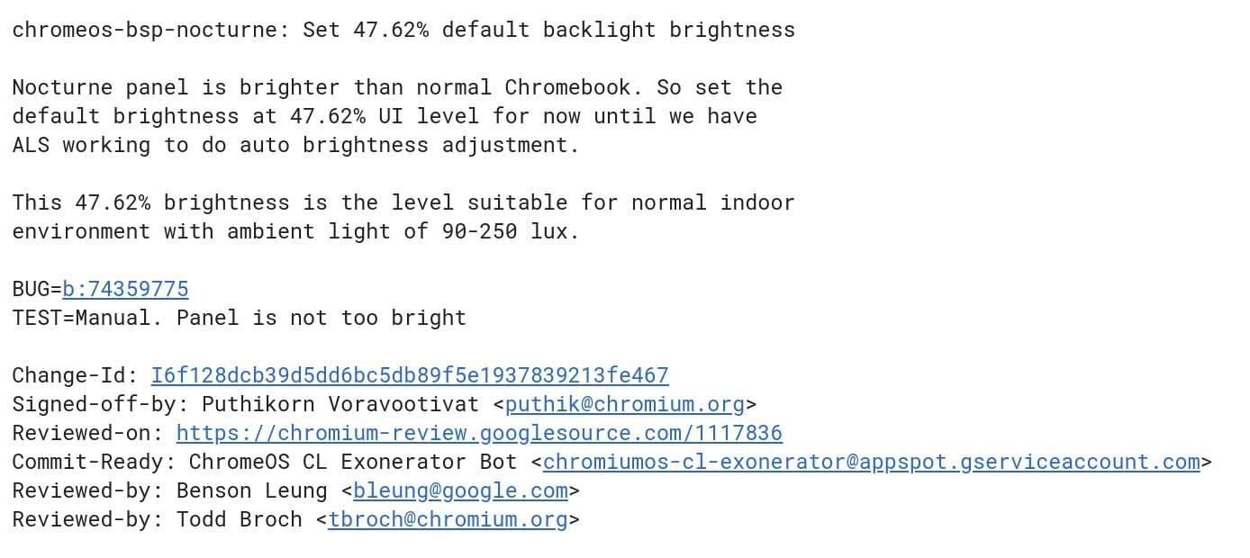 Nocturne Display Brightness Commit
