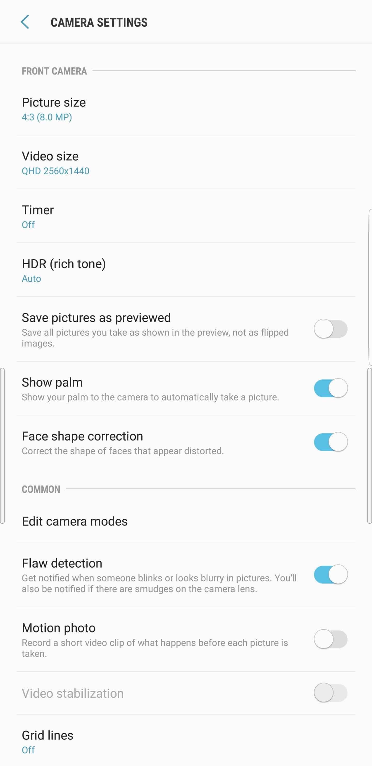 Samsung Galaxy Note 9 AH NS camera settings