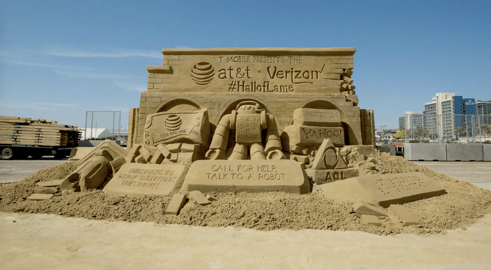 T Mobile Debuts Halloflame Sand Sculpture Taking Aim At