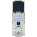 ARRAY By Hampton Connected Lock Cooper Satin Nickel Solar Panel Slides to Access Metal Keypad