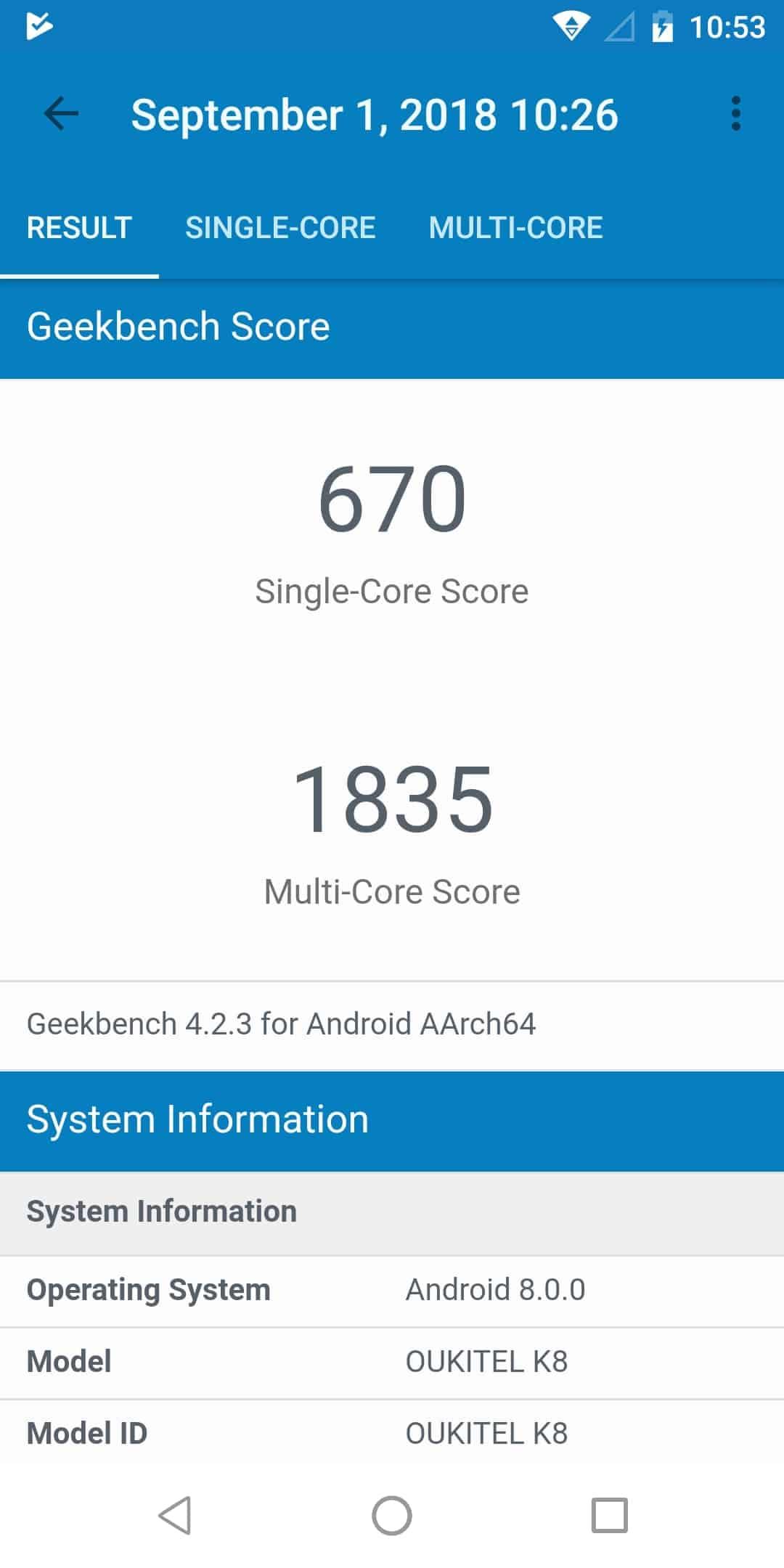 OUKITEL K8 performance bench Screenshot 01