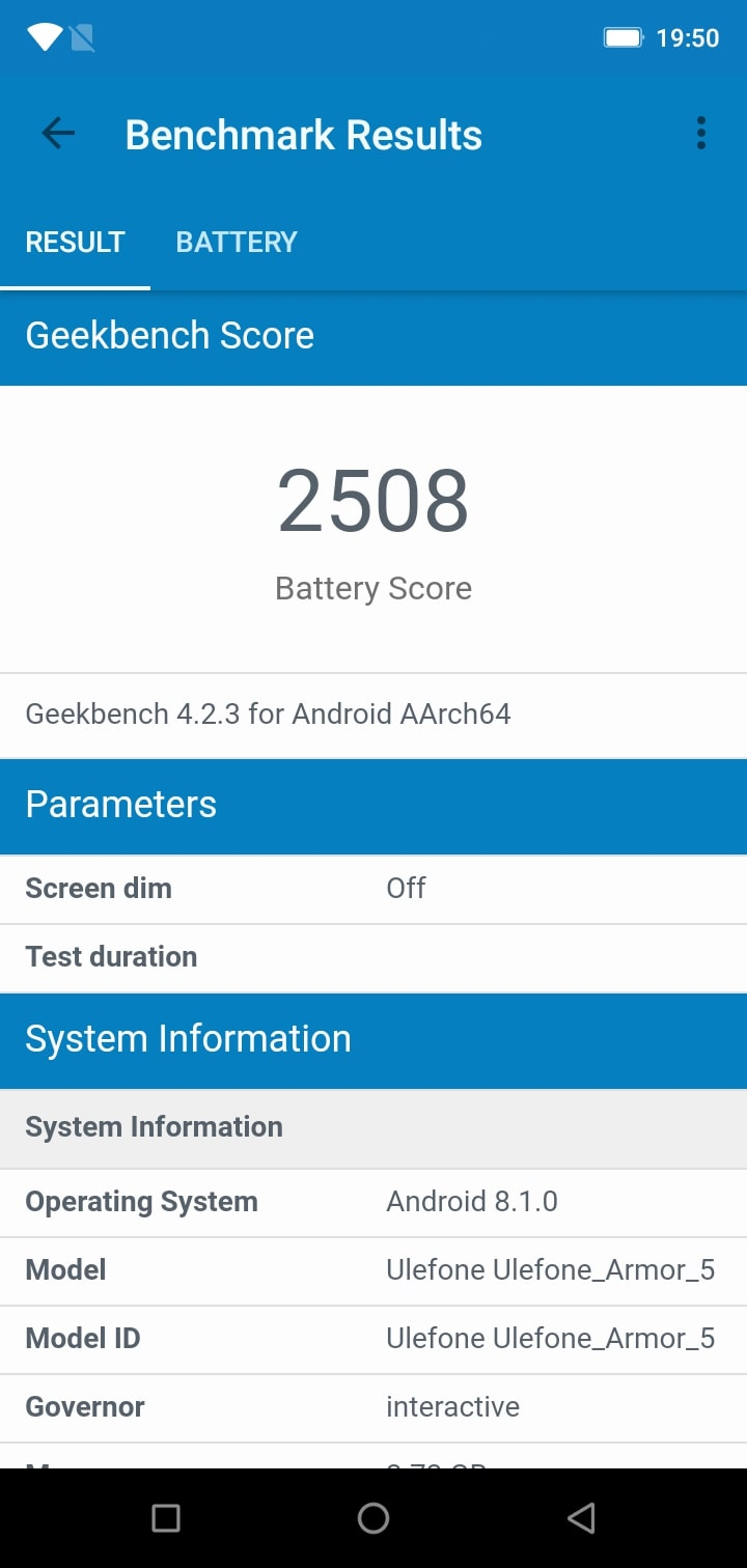 Ulefone Armor 5 Review benchmark battery 01