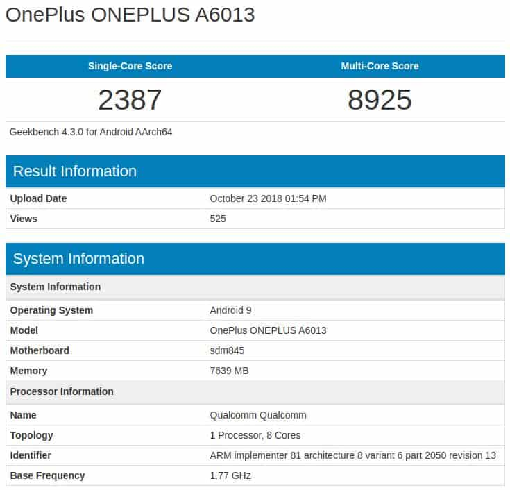 OnePlus 6T Geekbench pre release 1