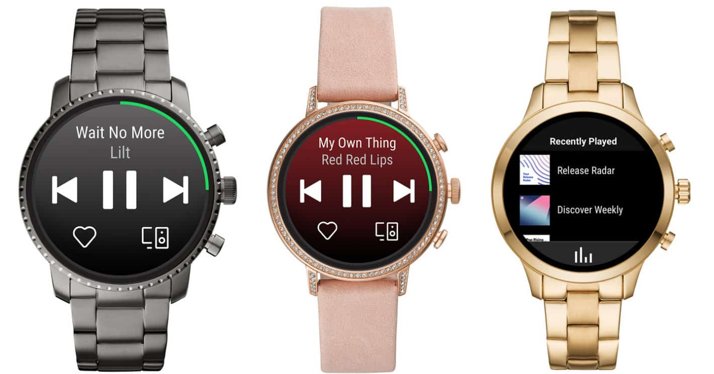 Spotify Wear OS app Fossil Smartwatches