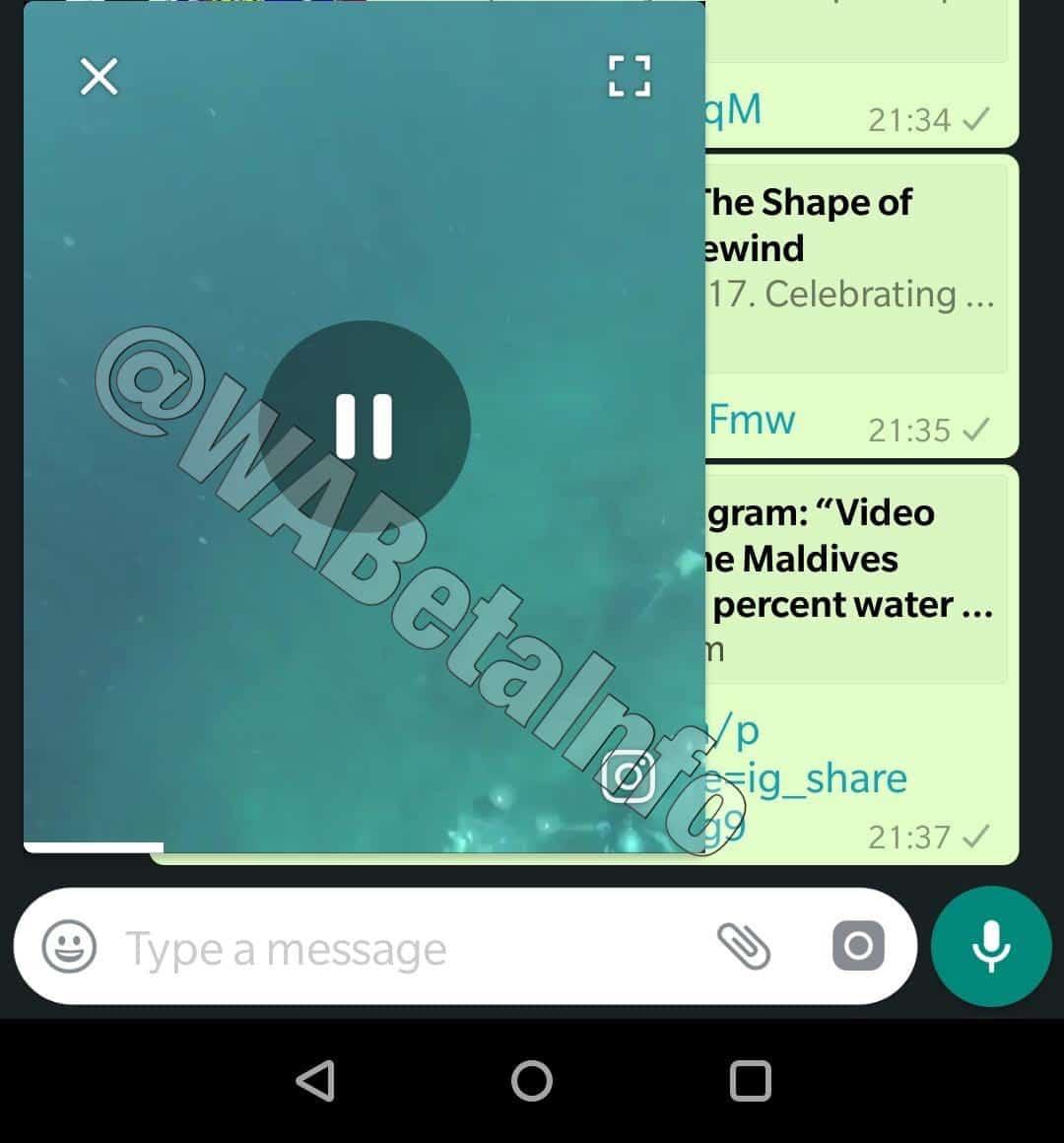 WhatsApp beta PiP mode 2