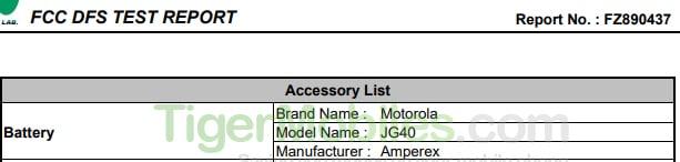 Moto G7 Battery FCC 3
