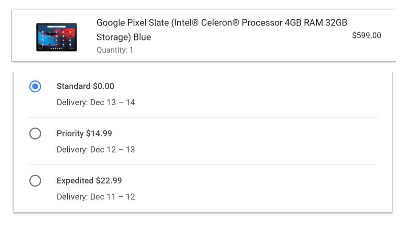 Pixel Slate Ship Date from Google Store 01