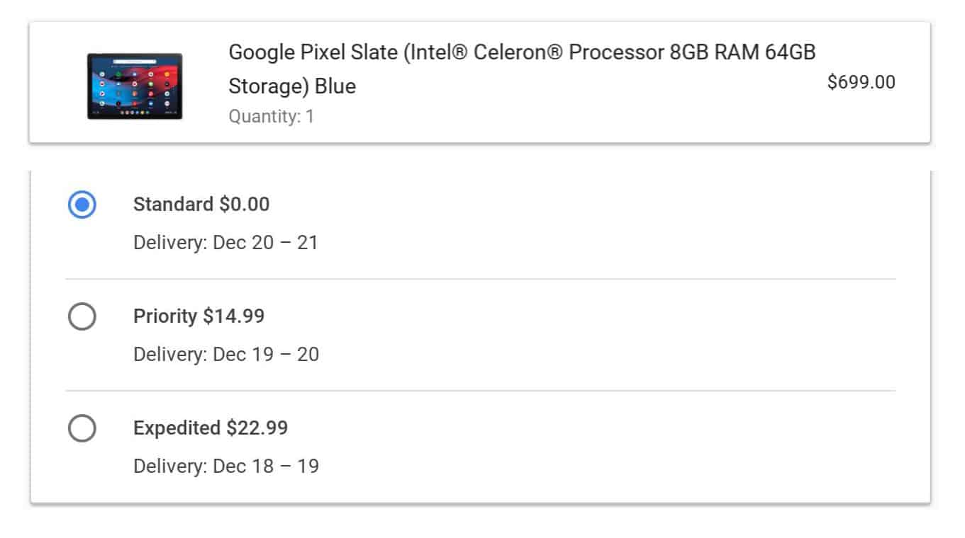 Pixel Slate Ship Date from Google Store 02
