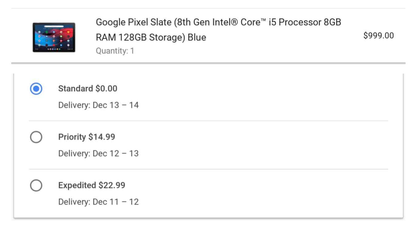 Pixel Slate Ship Date from Google Store 04